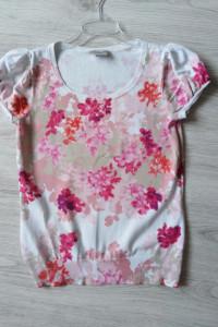 Laura Ashley Occasion bluzka sweterkowa 40 L biała w kwiaty elegancka wizytowa krótki rękaw