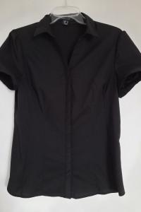 Atmosphere czarna koszula damska 38 M elegancka wizytowa z kołnierzykiem krotki rękaw Stan idealny