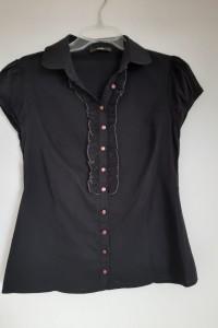 Czarna koszula damską 40 L elegancka wizytowa falbanki kołnierzyk adl