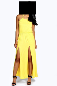 Boohoo długa sukienka żółta roz 38...