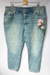 Spodnie Dzinsowe H&M Slim Ankle 50 5XL Haft Jeansy...