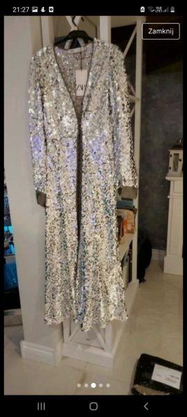Suknie i sukienki Sukienka Zara Cekiny rozmiar S srebrna