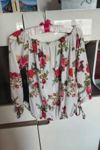 Zwiewna bluzka kwiatki floral ściągacze XS S 34 36...