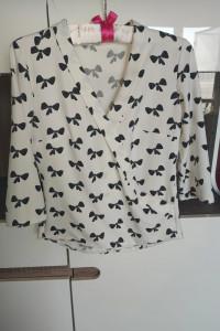 Biała kopertowa koszula Czarne kokardki Xs s 34 36...