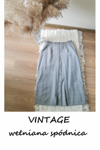 Vintage spódnica midi wełniana L XL szara basic minimalizm pure...