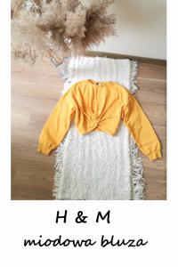 Żółta bluza z węzłem luźna oversize krótka S M...