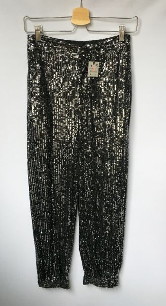 Spodnie Spodnie Cekiny NOWE Czarne Srebrne Zara XS 34