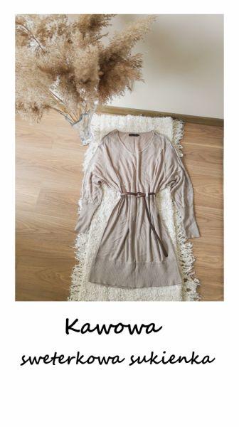 Swetry Długi kawowy sweterek oversize 44 46 dzianinowa sukienka