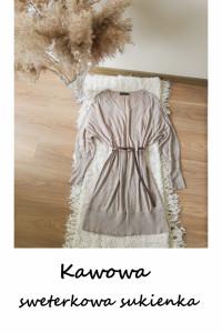 Długi kawowy sweterek oversize 44 46 dzianinowa sukienka...