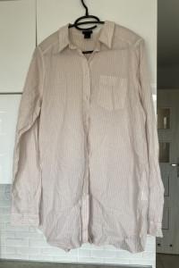 HM pudrowa koszula prążki paski oversize bawełna...