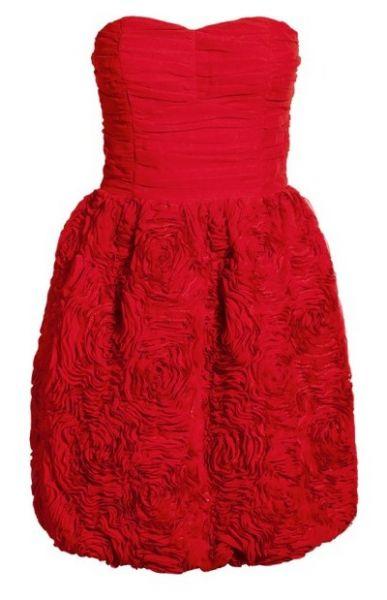 Suknie i sukienki H&M CZERWONA SUKIENKA GARDEN RÓŻE GORSETOWA