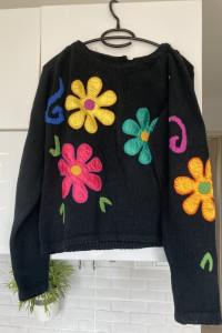 vintage retro sweter kwiaty hippie hafty...