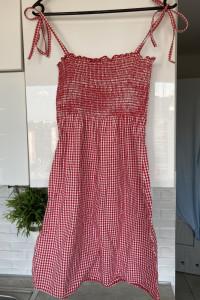 Reserved czerwona letnia sukienka mini kratka vich...