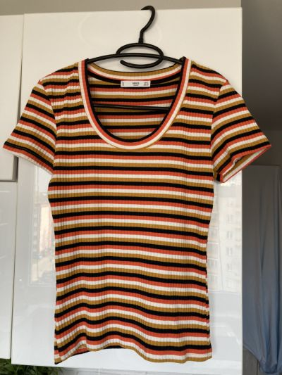 Koszulki Mango retro koszulka paski rozmiar S