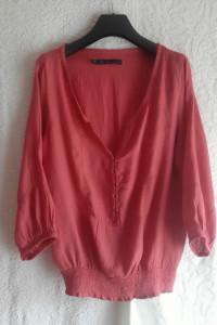 Różowa malinowa ciekawa bluzeczka ze ściągaczem Zara rozmiar L...
