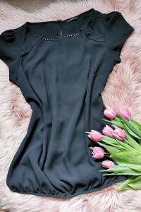 czarna bluzka z perełkami Mohito