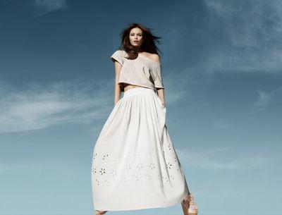 Spódnice Biała maxi spódnica H&M 36 S bawełna organiczna haft angielski Conscious Collection