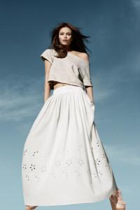 Biała maxi spódnica H&M 36 S bawełna organiczna haft angielski ...