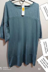 Sukienka khaki uni duże rozmiary tunika krótki rękaw lato...