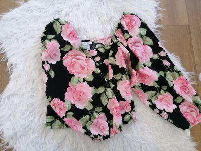 Bluzki Bluzeczka krotka w kwiaty