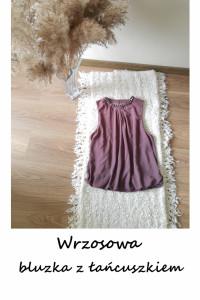 Elegancka bluzka M L z łańcuszkiem wrzosowa lawendowa fioletowa...