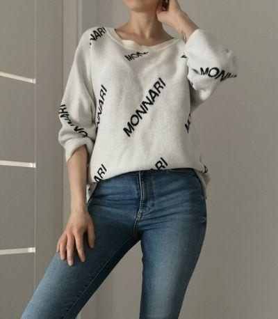 Swetry Monnari sweter beż 3 4 rękaw oversize rozmiar S