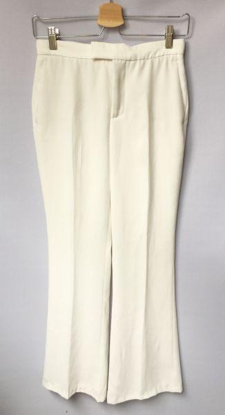 Spodnie Spodnie Zara Białe Rozszerzane Nogawki XS 34 Eleganckie
