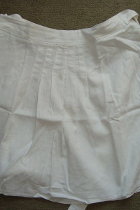 Spódnica bombka biała 16 44 z lnem len lniana