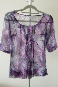 Bluzka wiązana kokardka fioletowa cienka rękaw...