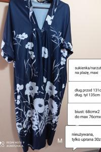 Sukienka uni duże rozmiary narzutka na plażę maxi kwiaty...