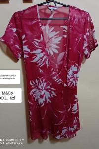 Bluzka XXL siateczkowa narzutka na plażę kopertowe wiązanie kwi...
