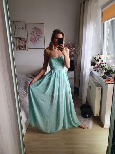 Suknie i sukienki Miętowa sukienka maxi S 36