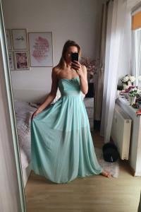 Miętowa sukienka maxi S 36
