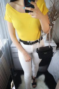 Grey Wolf Bluzka damska hiszpanka odkryte ramiona żółta XL...