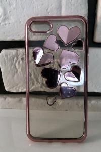 Case iPhone 7 8 SE 2020 clear przezroczysty serca serduszka sta...