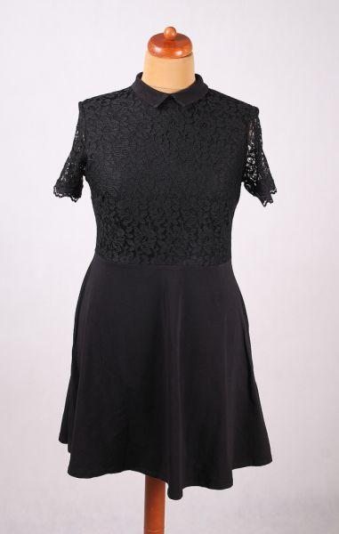 Suknie i sukienki CZARNA SUKIENKA GÓRA Z KORONKI KOŁNIERZYK PENSJONARKA 46 48