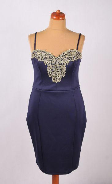 Suknie i sukienki GRANATOWA SUKIENKA OŁÓWKOWA Z ZŁOTĄ KORONKĄ PIANKOWA 44 46