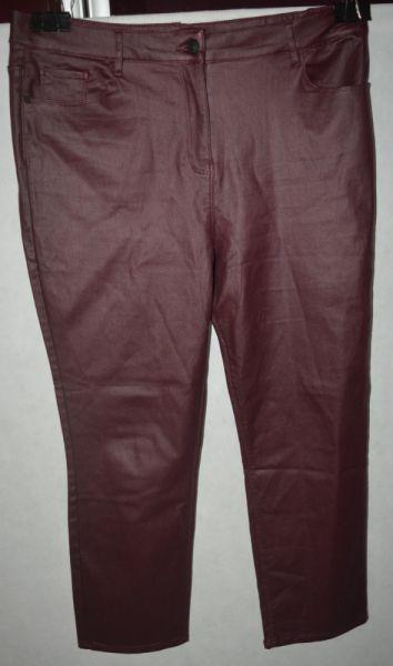 Spodnie 3 Bordowe woskowane spodnie next 48