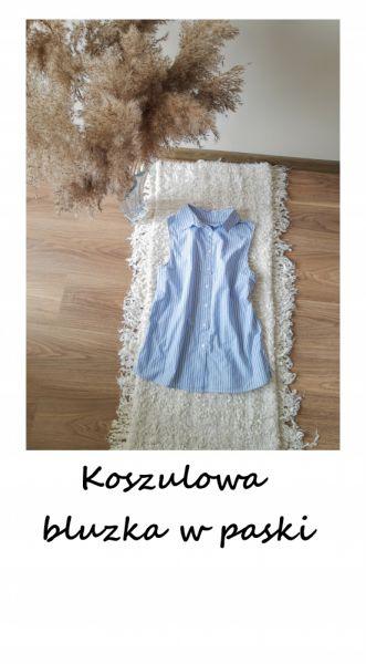 Bluzki Nowa bawełniana koszulowa bluzka w paski bez rękawów XS bawełna