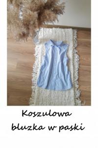Nowa bawełniana koszulowa bluzka w paski bez rękawów XS bawełna...
