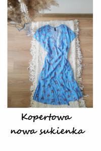 Nowa niebieska letnia kopertowa sukienka w kwiaty XS S...