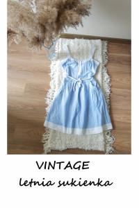 Vintage sukienka w paski letnia na co dzień S M ramiączka kiesz...