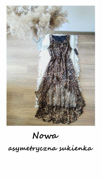 Suknie i sukienki Nowa asymetryczna sukienka w panterkę L XL letnia elegancka na wesele