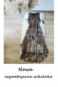 Nowa asymetryczna sukienka w panterkę L XL letnia elegancka na ...