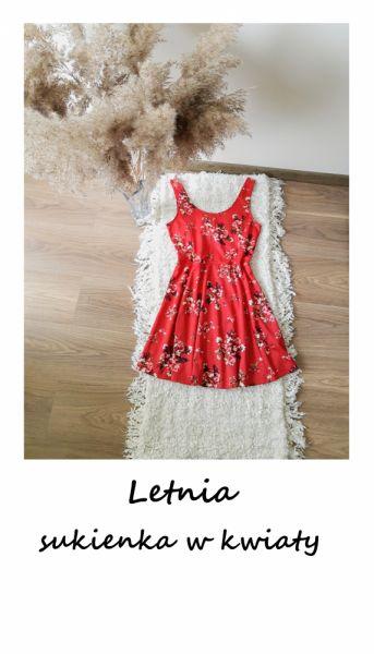 Suknie i sukienki Letnia sukienka w kwiaty M L XL czerwona rozkloszowana na co dzień