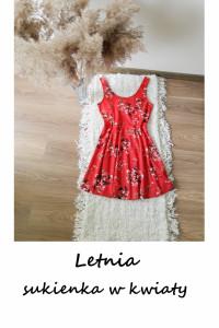 Letnia sukienka w kwiaty M L XL czerwona rozkloszowana na co dzień