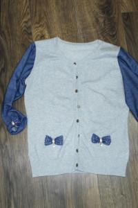 Bluzka rozpinana szaro niebieska 38...
