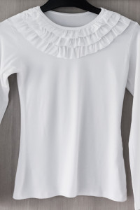 Biała bluzka falbanka żabot S 36...
