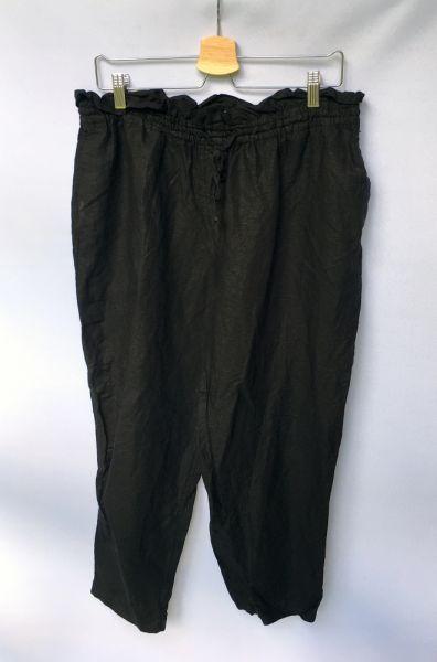 Spodnie Spodnie Czarne H&M Lniane Len L 40 Długość 7 8 Eleganckie