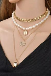Naszyjnik wielowarstwowy perły i łańcuszki...